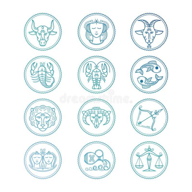 Zodiac εικονιδίων γραμμών υπογράφει το διανυσματικό σύνολο Ζωηρόχρωμα εμβλήματα ωροσκοπίων ελεύθερη απεικόνιση δικαιώματος