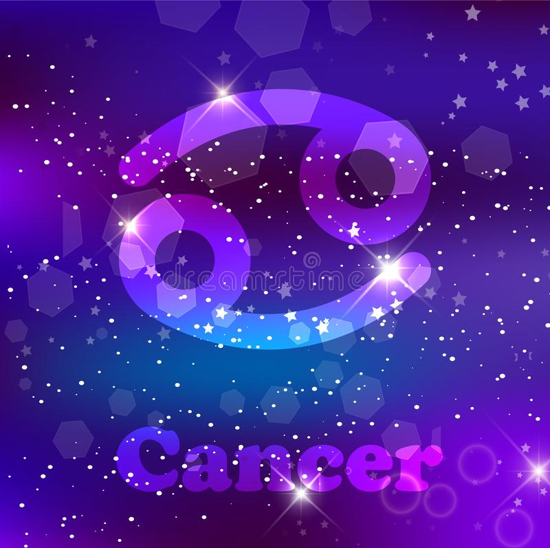 Zodiac καρκίνου σημάδι σε ένα κοσμικό πορφυρό υπόβαθρο με τα λαμπιρίζοντας αστέρια και το νεφέλωμα διανυσματική απεικόνιση