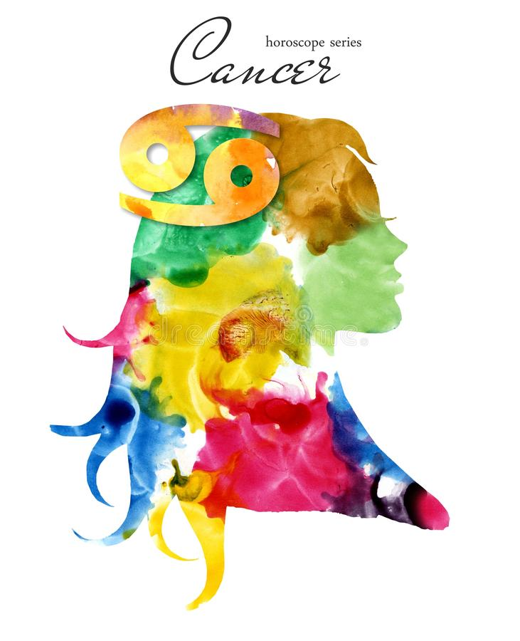 Zodiac καρκίνου σημάδι Όμορφη σκιαγραφία κοριτσιών m Σειρά ωροσκοπίων απεικόνιση αποθεμάτων