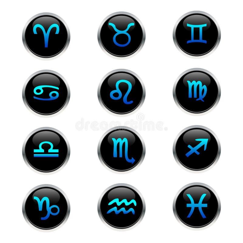 zodiac κουμπιών διανυσματική απεικόνιση