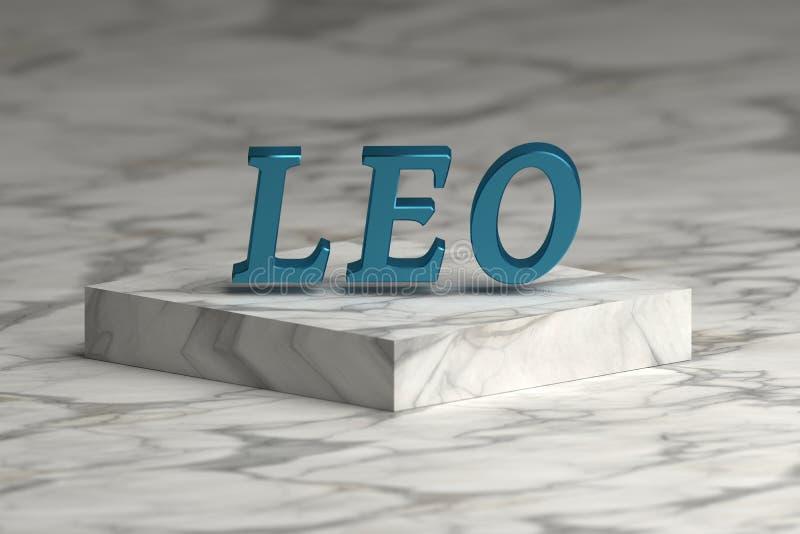 Zodiac λέξη του Leo στη λαμπρή μπλε μεταλλική σύσταση διανυσματική απεικόνιση