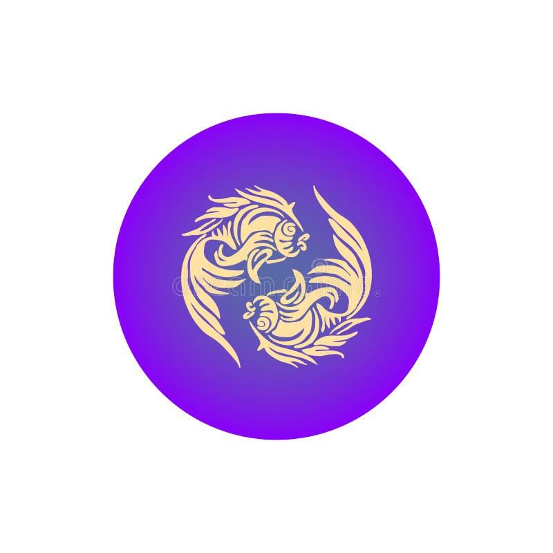 Zodiac μπεζ σκιαγραφία ψαριών σημαδιών στον μπλε κύκλο, εικονίδιο στο λευκό ελεύθερη απεικόνιση δικαιώματος