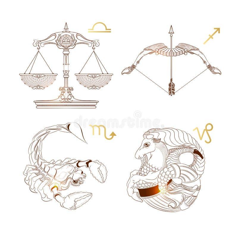 Zodiac περιλήψεων σημάδια Libra, Σκορπιός, Αιγόκερος, Sagittarius επίσης corel σύρετε το διάνυσμα απεικόνισης απεικόνιση αποθεμάτων