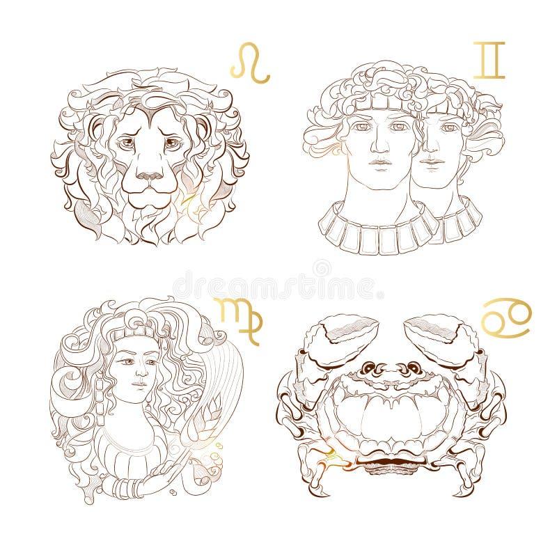 Zodiac περιλήψεων σημάδια Virgo, Leo, Διδυμοι, καρκίνος επίσης corel σύρετε το διάνυσμα απεικόνισης διανυσματική απεικόνιση