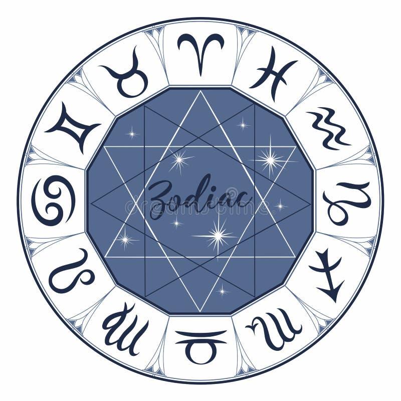 zodiac σημάδια Αστρολογικό σύμβολο ωροσκόπιο αστρολογίας μυστικός διάνυσμα απεικόνιση αποθεμάτων