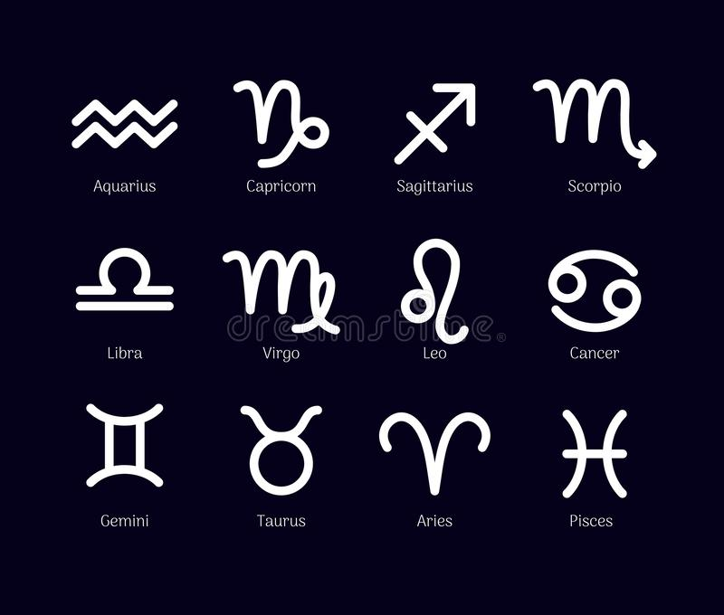 Zodiac σημάδια καθορισμένα απομονωμένα στο μαύρο υπόβαθρο διανυσματική απεικόνιση