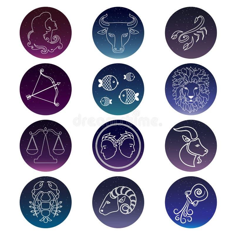 Zodiac σημάδια πολικό καθορισμένο διάνυσμα καρδιών κινούμενων σχεδίων ελεύθερη απεικόνιση δικαιώματος