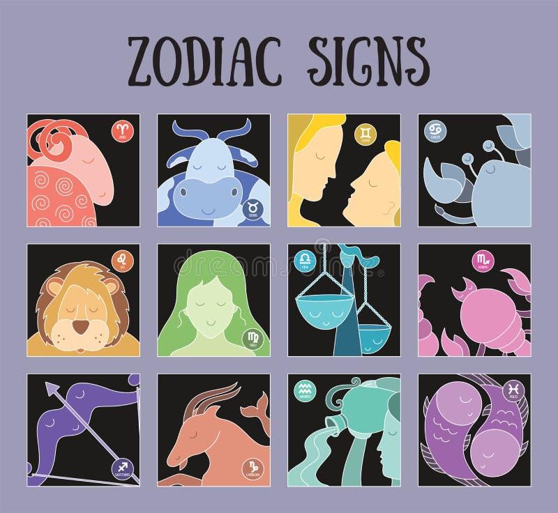 Zodiac σημάδια: Υδροχόος, libra, leo, taurus, καρκίνος, pisces, virgo, Αιγόκερος, sagittarius, aries, Διδυμοι, Σκορπιός Αστρολογι διανυσματική απεικόνιση