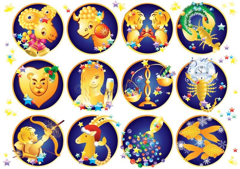 Zodiac σημάδια Χριστούγεννα διανυσματική απεικόνιση