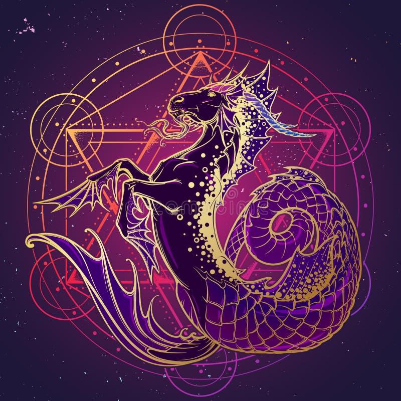 Zodiac σημάδι Αιγόκερος r διανυσματική απεικόνιση