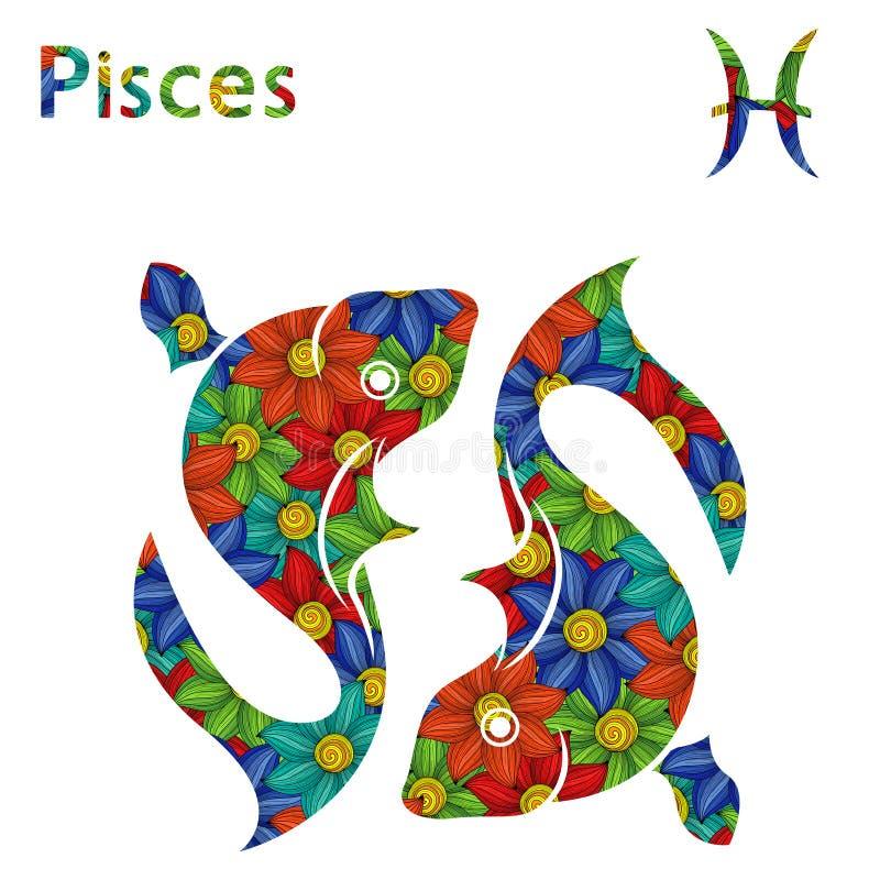 Zodiac σημάδι Pisces με τα τυποποιημένα λουλούδια διανυσματική απεικόνιση