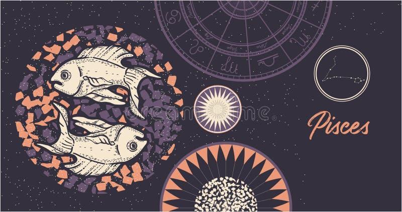 Zodiac σημάδι Pisces Το σύμβολο του αστρολογικού ωροσκοπίου r o o ελεύθερη απεικόνιση δικαιώματος