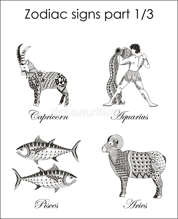 Zodiac σημάδια Αιγόκερος aquinas pisces aridly Μέρος πρώτο Zent ελεύθερη απεικόνιση δικαιώματος
