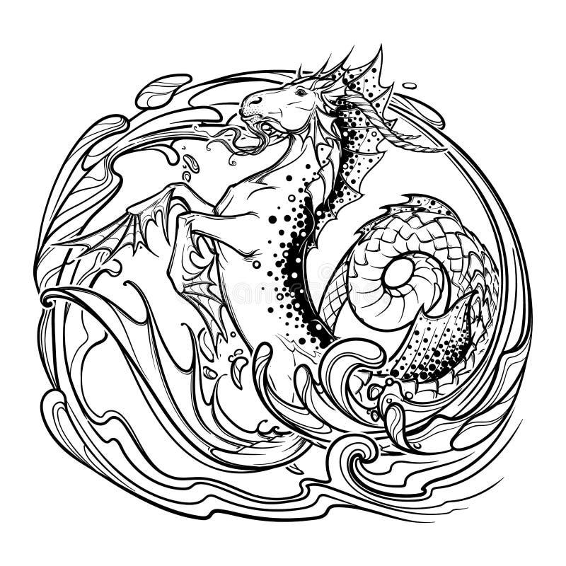 Zodiac σημάδι Αιγόκερος Σκίτσο bw απεικόνιση αποθεμάτων