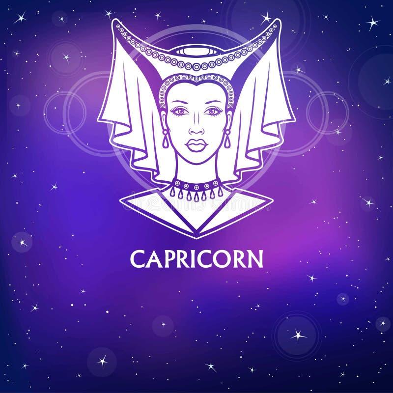 Zodiac σημάδι Αιγόκερος Φανταστική πριγκήπισσα, πορτρέτο ζωτικότητας Άσπρο σχέδιο, υπόβαθρο - ο αστρικός ουρανός νύχτας διανυσματική απεικόνιση