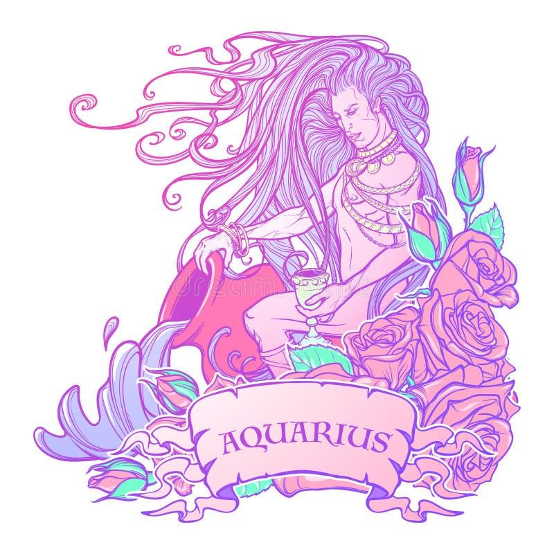 Zodiac σημάδι Υδροχόος Όμορφος νεαρός άνδρας με το μακρυμάλλη μεγάλο αμφορέα εκμετάλλευσης Παλέτα κρητιδογραφιών goth ελεύθερη απεικόνιση δικαιώματος