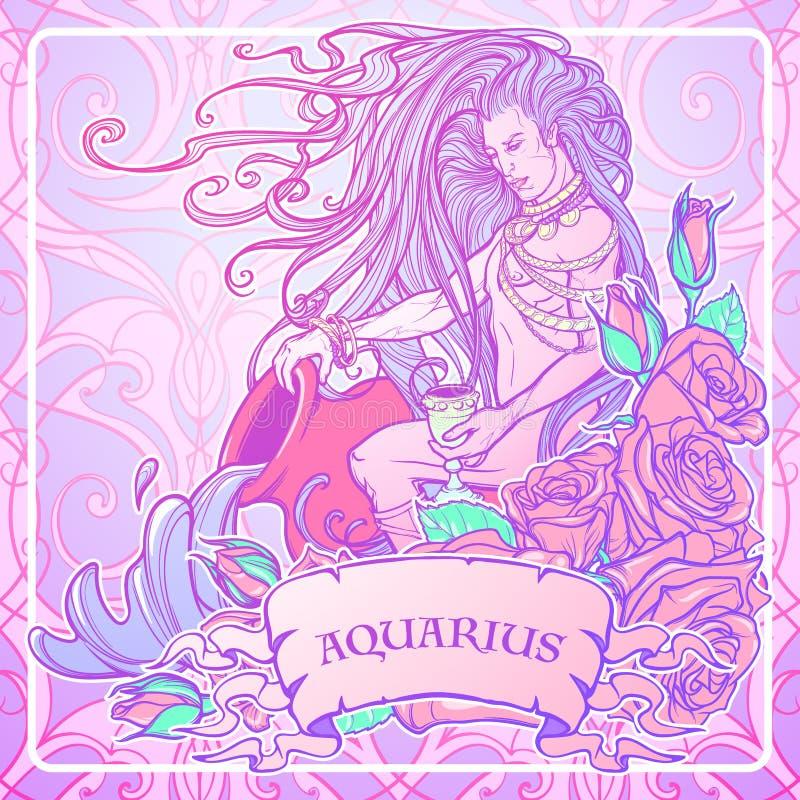 Zodiac σημάδι Υδροχόος Όμορφος νεαρός άνδρας με το μακρυμάλλη μεγάλο αμφορέα εκμετάλλευσης Παλέτα κρητιδογραφιών goth διανυσματική απεικόνιση