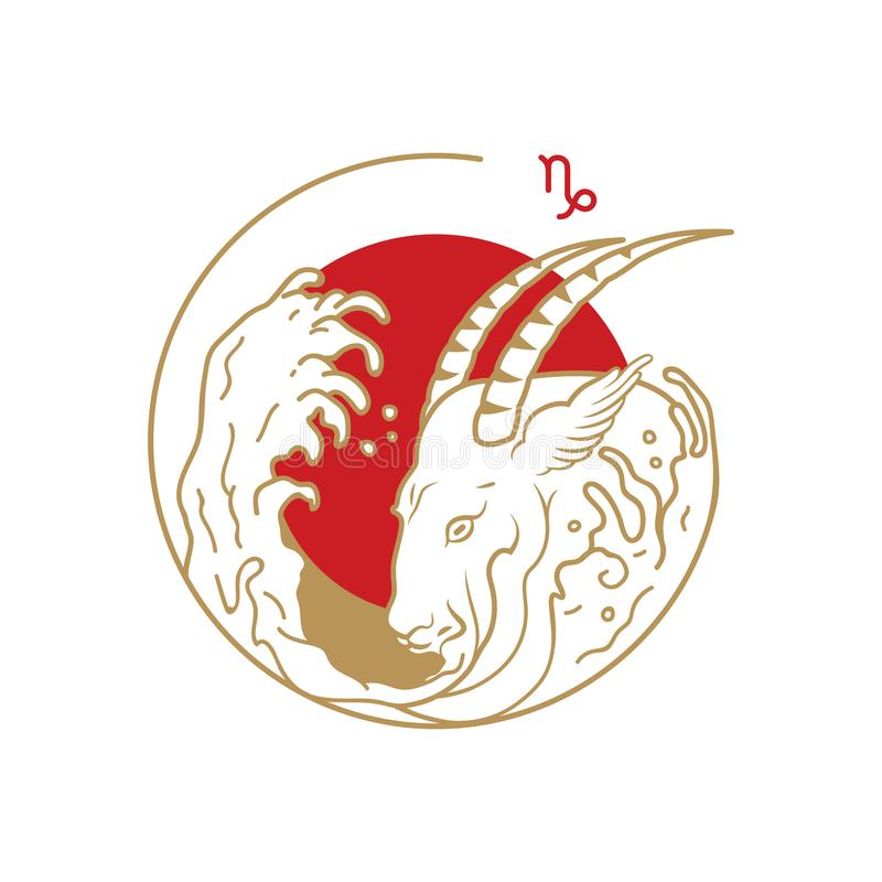 Zodiac σύμβολο κύκλων Αιγόκερος απεικόνιση αποθεμάτων