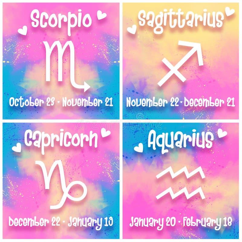 Zodiac τα σημάδια θέτουν - Σκορπιός, Sagittarius, Αιγόκερος, Υδροχόος - το ζωηρόχρωμο καθιερώνον τη μόδα σχέδιο απεικόνιση αποθεμάτων