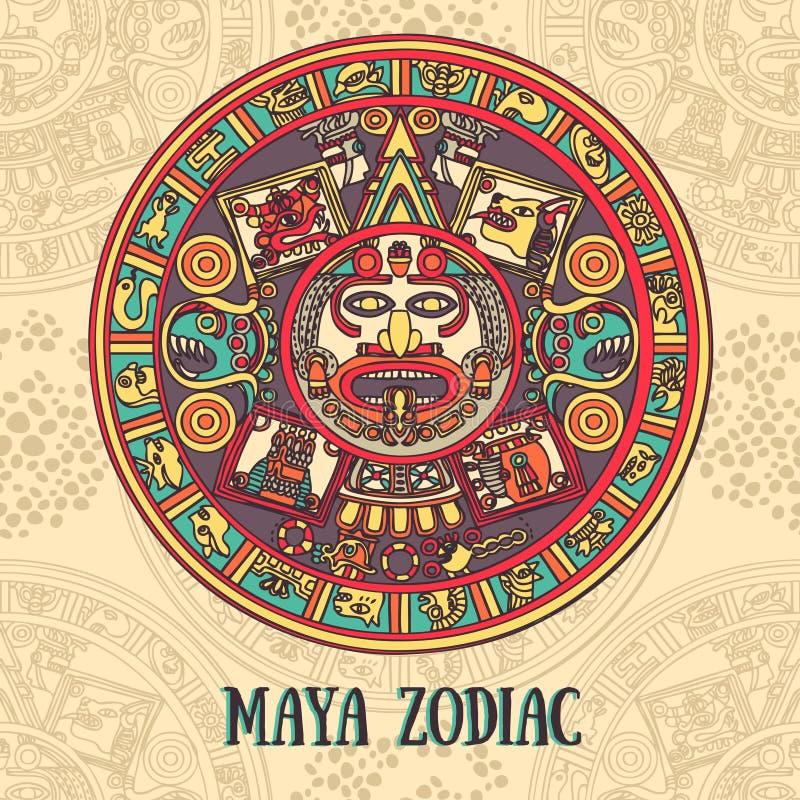 Zodiac της Maya, κάρτα με την εθνική διακόσμηση διανυσματική απεικόνιση
