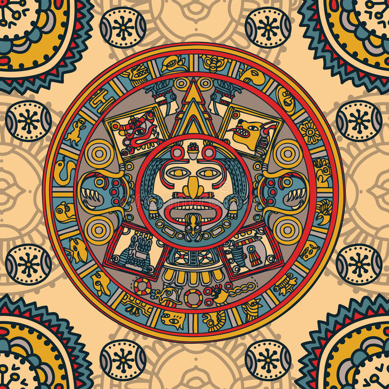 Zodiac της Maya, κάρτα με την εθνική διακόσμηση ελεύθερη απεικόνιση δικαιώματος