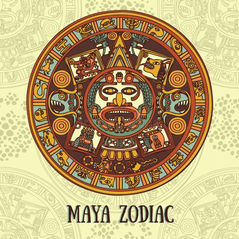 Zodiac της Maya, κάρτα με την εθνική διακόσμηση απεικόνιση αποθεμάτων
