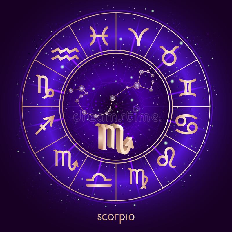 Zodiac το σημάδι και ο αστερισμός ΣΚΟΡΠΙΟΣ με το ωροσκόπιο περιβάλλουν και ιερά σύμβολα στο έναστρο υπόβαθρο νυχτερινού ουρανού μ απεικόνιση αποθεμάτων