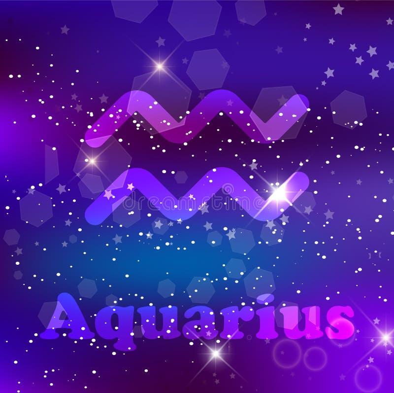 Zodiac Υδροχόου σημάδι σε ένα κοσμικό πορφυρό υπόβαθρο με τα λαμπιρίζοντας αστέρια και το νεφέλωμα διανυσματική απεικόνιση
