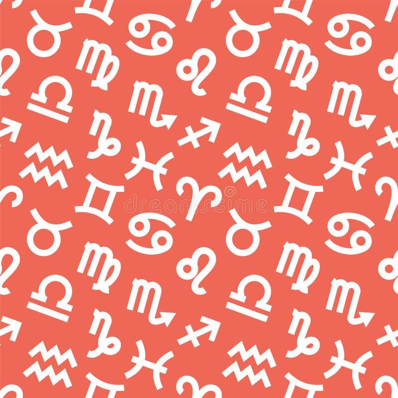 Zodiac υπογράφει το άνευ ραφής σχέδιο Υδροχόος, libra, leo, taurus, καρκίνος, pisces, virgo, Αιγόκερος, sagittarius, aries, Διδυμ διανυσματική απεικόνιση