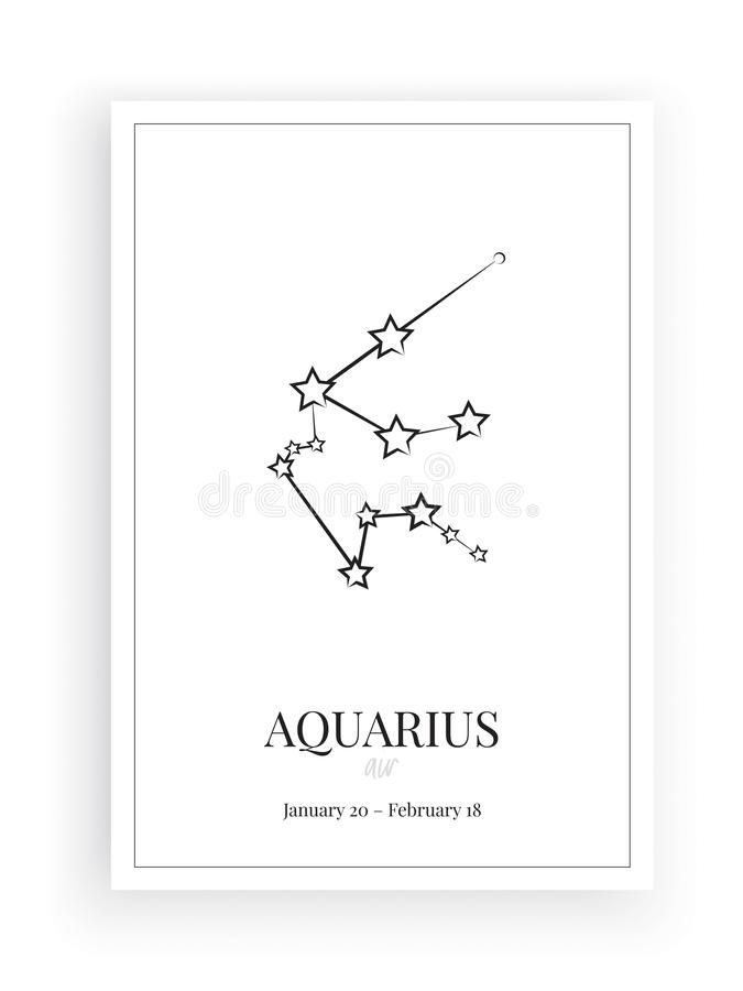 Zodiac Aquarius Sign Stars, symbol Aquarius sign, minimalist poster design, vector, graphic design, wall decals vector illustration