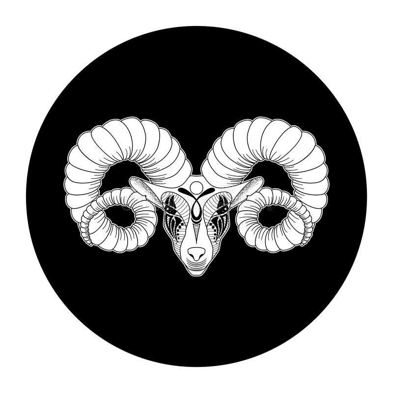 Zodiac Aries σημάδι, σύμβολο ωροσκοπίων, διανυσματική απεικόνιση ελεύθερη απεικόνιση δικαιώματος