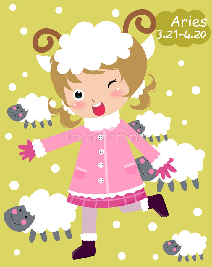 Download Zodiac-aries stock vector. Image of girl, yellow, sweet - 12392136