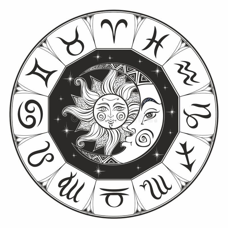 zodiac Astrologiskt symbol horoskop The Sun och månen grensle mystiskt färgläggning vektor royaltyfri illustrationer