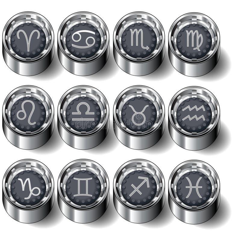 Zodiac astrology button set