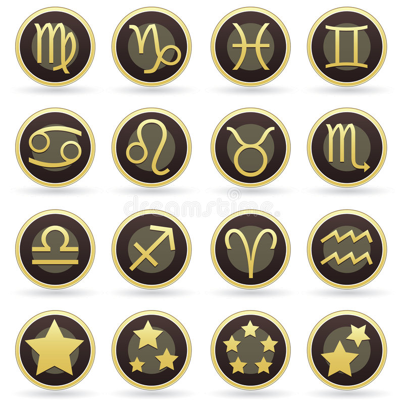Download Zodiac Astrology Signs On Vector Button Set Stock Photos - Image: 8912733