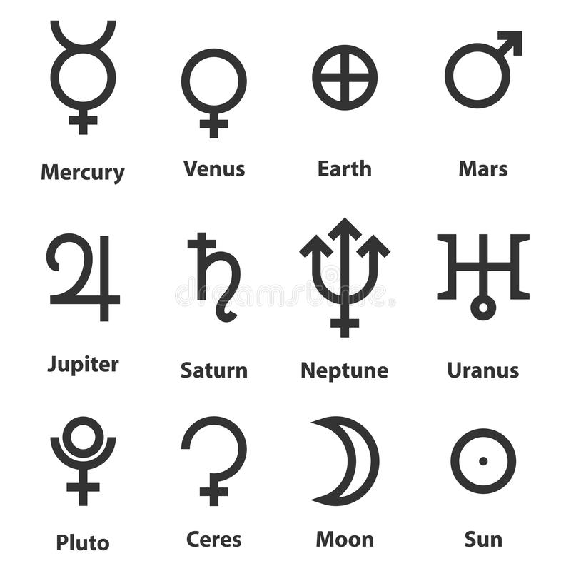 Zodiac And Astrology Symbols Of The Planets Stock Vector