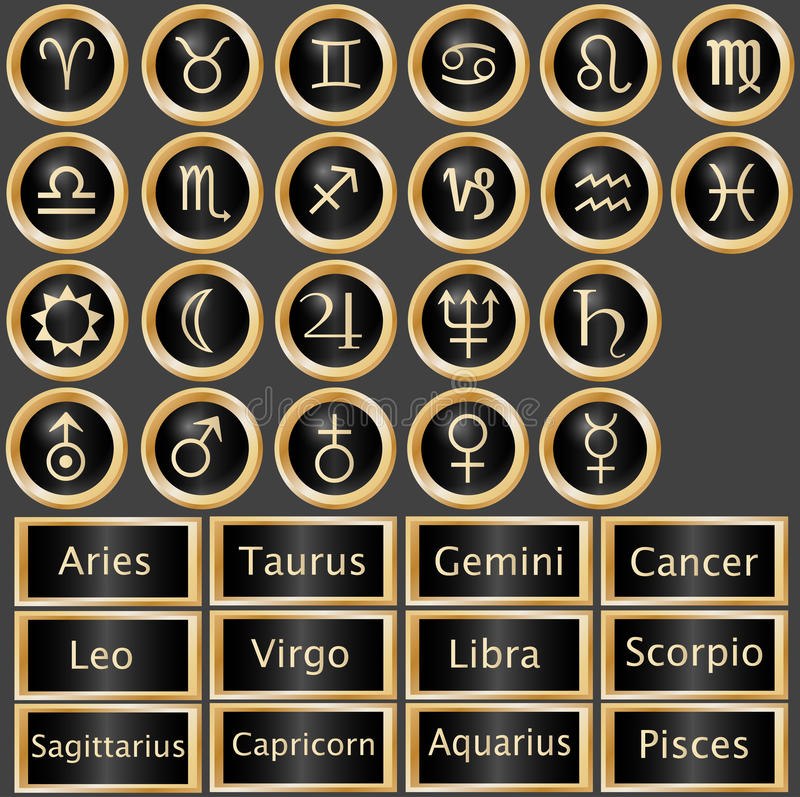 Download Zodiac Astrology Web Buttons Stock Vector - Illustration: 13364460