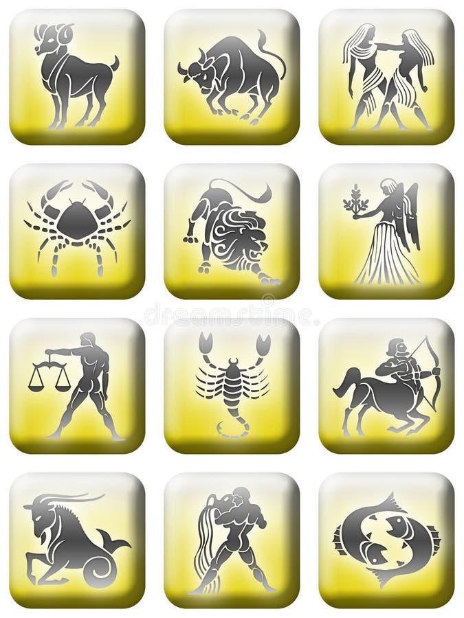 Zodiac button set (02) royalty free stock photos