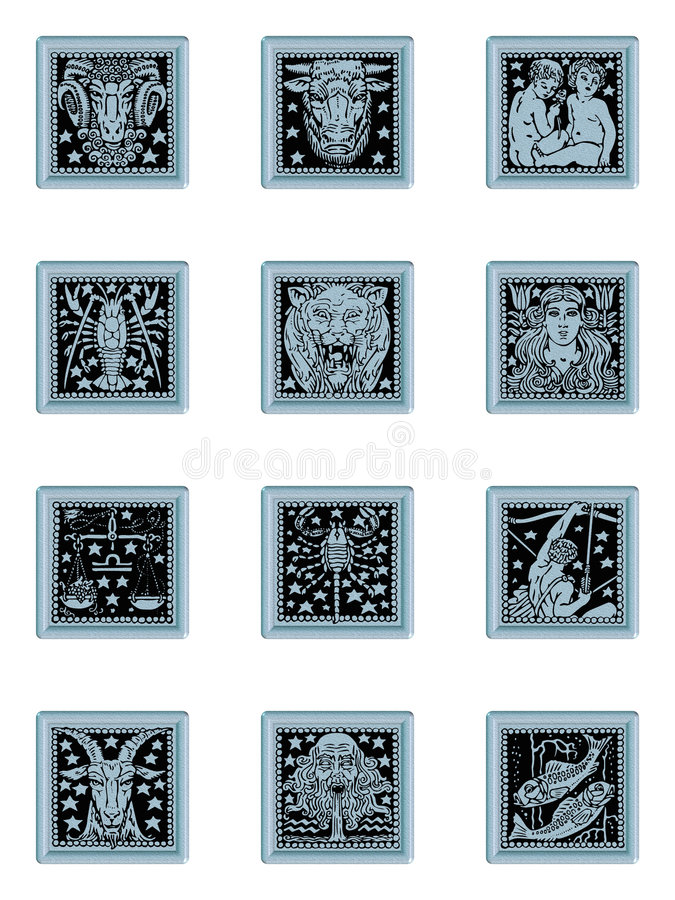 Zodiac button set blue stock photography