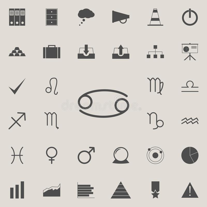 Zodiac cancer moon icon. Detailed set of Minimalistic icons. Premium quality graphic design sign. One of the collection icons fo. R websites, web design, mobile royalty free illustration