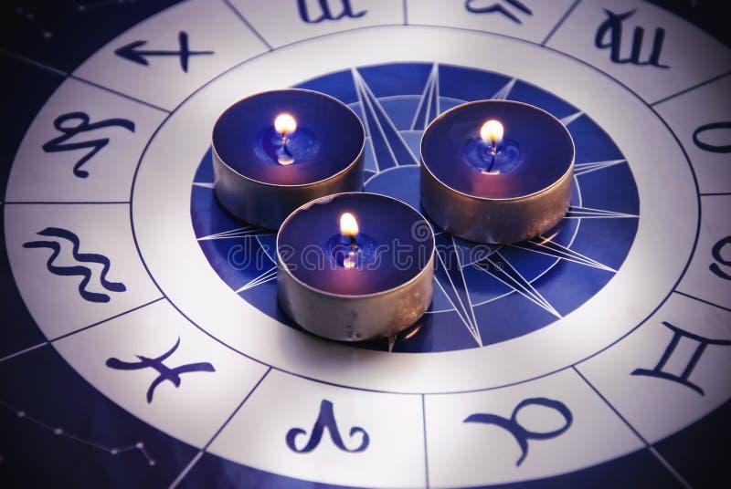 Zodiac with candles stock photos