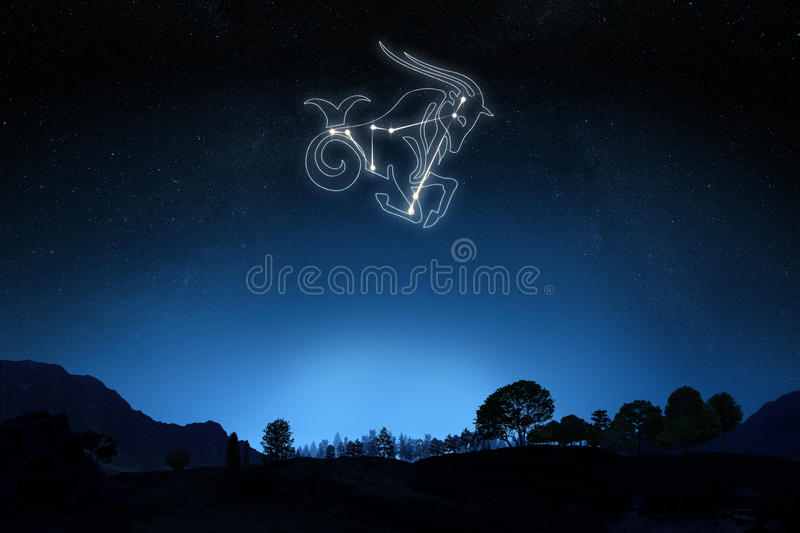 Zodiac Capricorn with a star and symbol outline. On a gradient sky background stock image