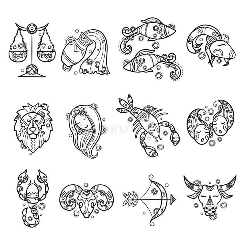 Zodiac characters. Astrology horoscope signs tattoos lion aries fish cancer vector graphics. Illustration sagittarius and aries, taurus and lion, aquarius and royalty free illustration