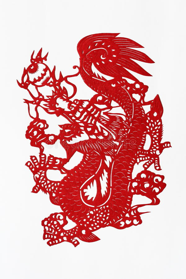 Zodiac Chinese Paper-cutting (Dragon). Paper-cutting is a traditional Chinese folk art. The Chinese Zodiac is a scheme that relates each year to an animal and royalty free stock photos