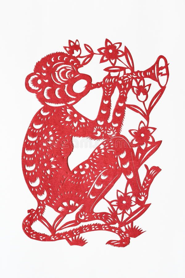 Zodiac Chinese Paper-cutting (Monkey). Paper-cutting is a traditional Chinese folk art. The Chinese Zodiac is a scheme that relates each year to an animal and royalty free stock photos