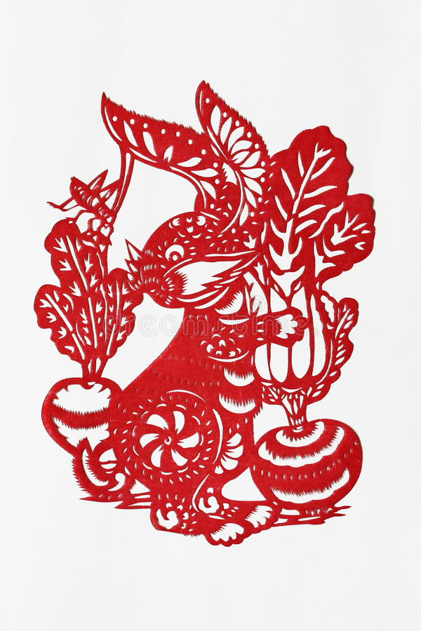 Zodiac Chinese Paper-cutting (Rabbit). Paper-cutting is a traditional Chinese folk art. The Chinese Zodiac is a scheme that relates each year to an animal and royalty free stock images