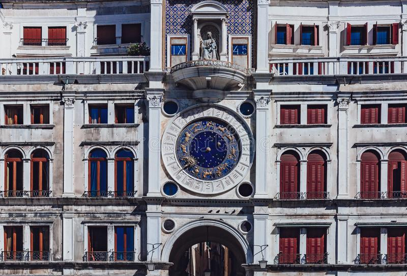 The zodiac clock on the facade of St. Mark`s Clock Tower in St. royalty free stock images