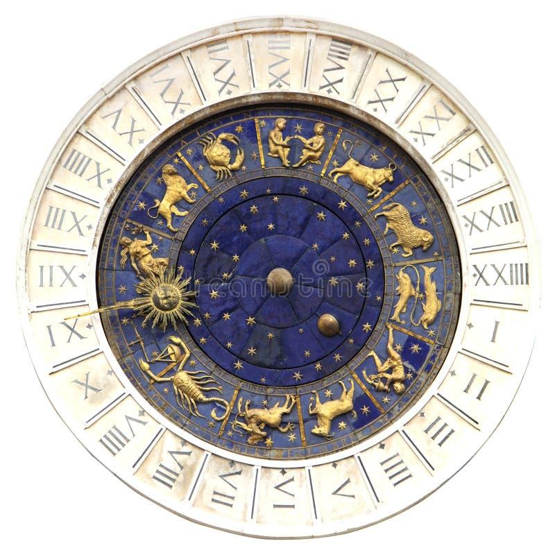 Zodiac clock  in Venice stock image