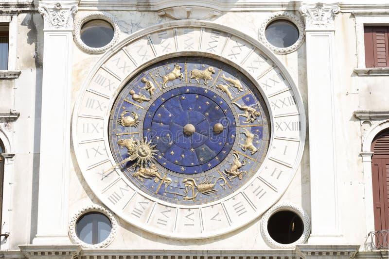 Zodiac clock  in Venice royalty free stock photo
