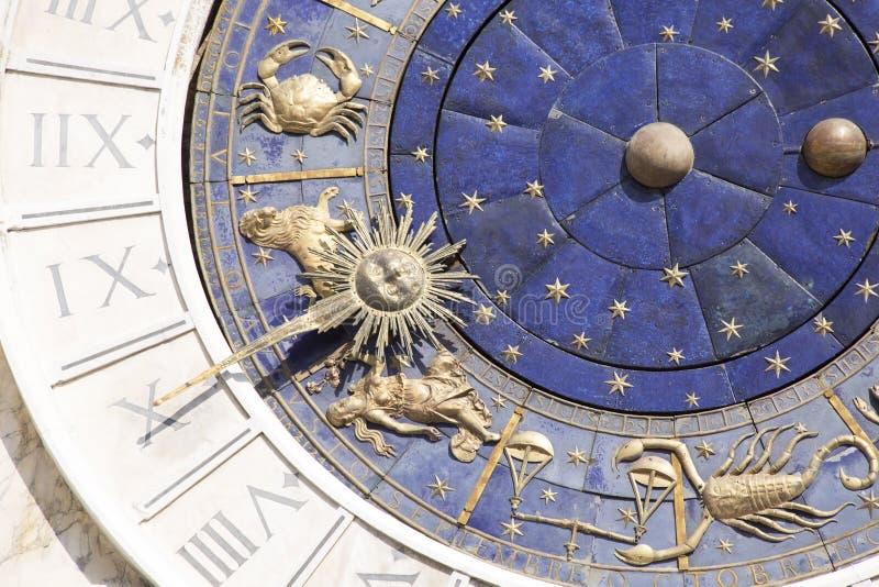 Zodiac clock in Venice stock photography